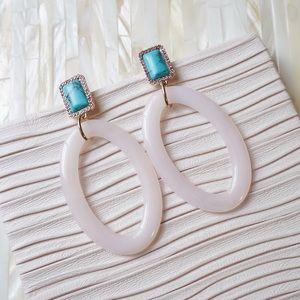 BaubleBar Turquoise Resin Hooped Drop Earrings